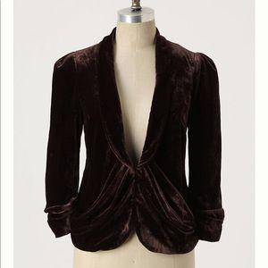 Anthro Elevenses Cyclorama Velvet Jacket Blazer